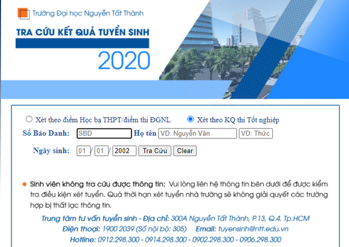 Tra cuu ket qua trung tuyen Dai hoc Nguyen Tat Thanh 2020