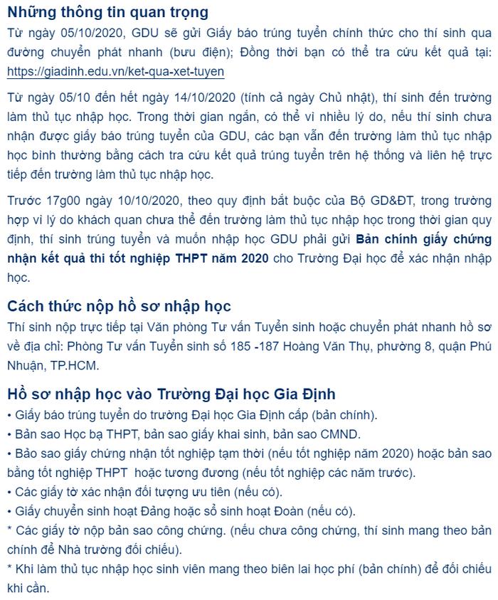 Dai hoc Gia Dinh cong bo diem chuan nam 2020