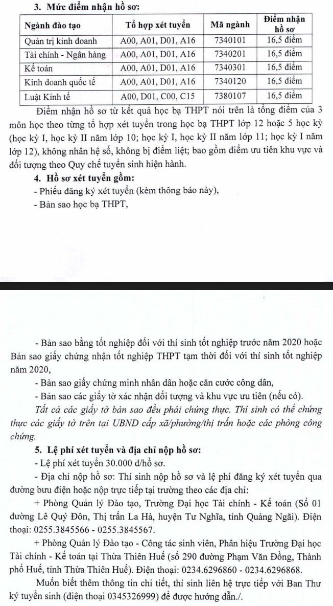 Dai hoc Tai Chinh-Ke Toan tuyen sinh bo sung nam 2020 dot 2