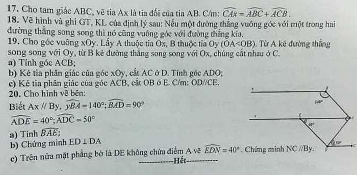 De cuong on tap giua hoc ki 1 mon Toan lop 7 - THCS&THPT Nguyen Tat Thanh 2020