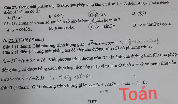 De kiem tra giua hoc ki 1 mon Toan 11 - Truong Song Ngu Lac Hong 2020