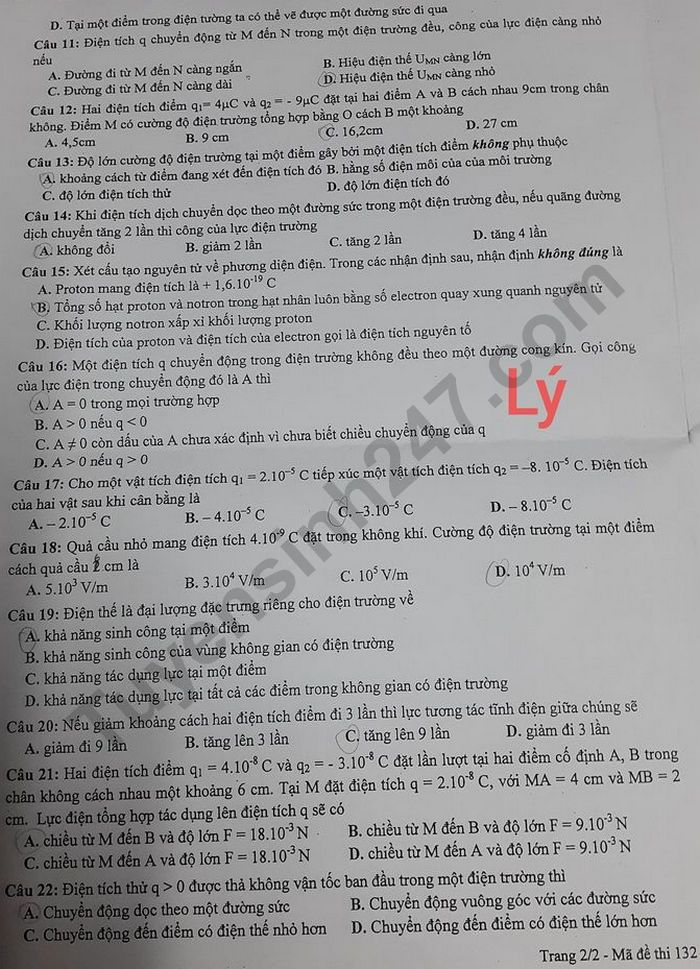 De kiem tra giua ki 1 mon Ly 11 - Truong Song Ngu Lac Hong 2020