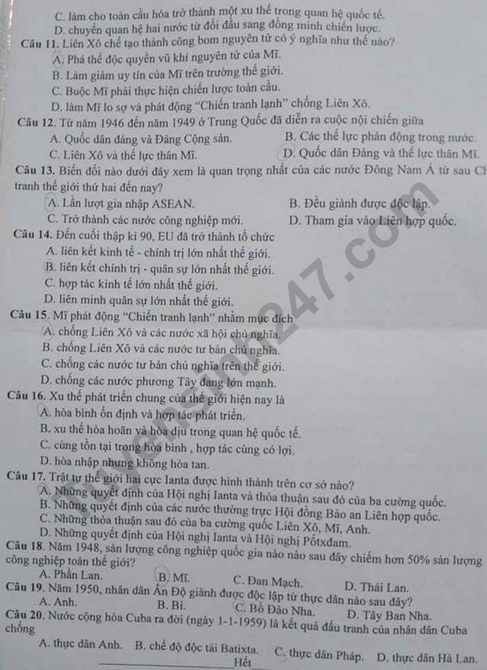 De kiem tra giua hoc ki 1 mon Su lop 12 - THPT Can Thanh 2020