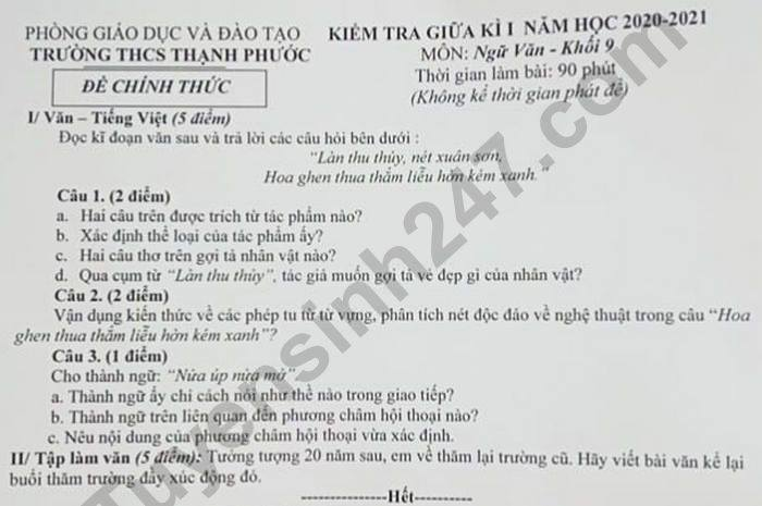 De kiem tra giua HK1 nam 2020 THCS Thanh Phuoc Van lop 9