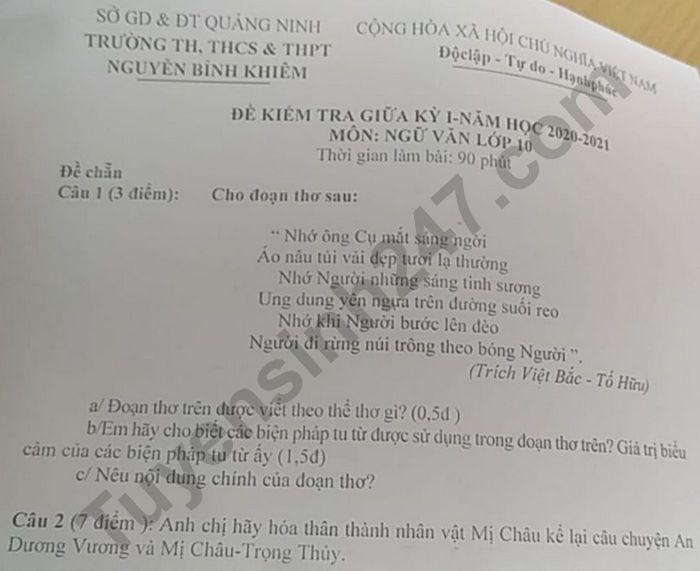 De kiem tra giua ki 1 mon Van lop 10 TH, THCS&THPT Nguyen Binh Khiem 2020