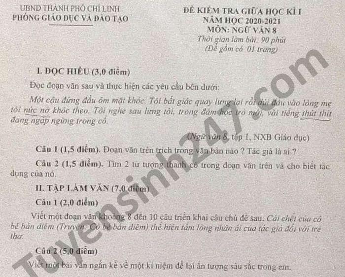 De kiem tra giua HK1 nam 2020 Van lop 8 Phong GD TP Chi Linh