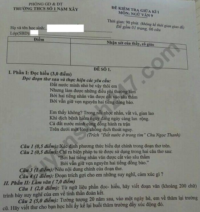 De kiem tra giua HK1 nam 2020 THCS So 1 Nam Xay mon Van lop 9