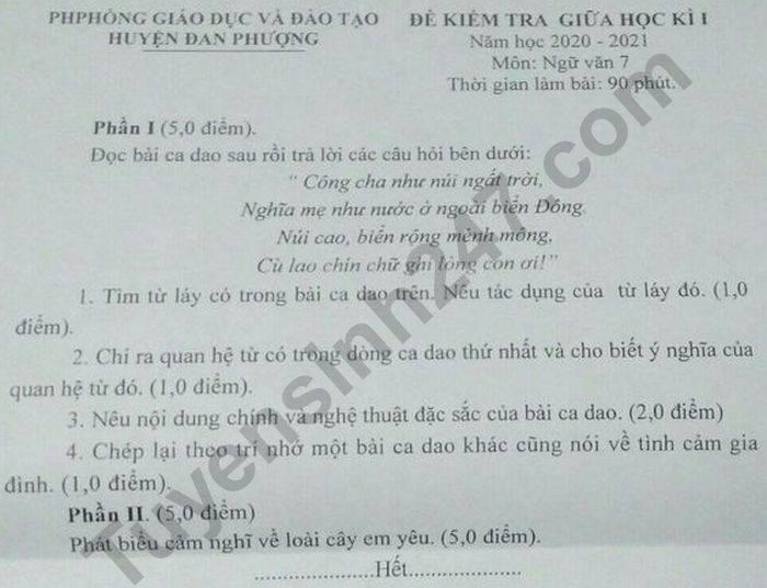 De kiem tra giua HK1 nam 2020 huyen Dan Phuong mon Van lop 7