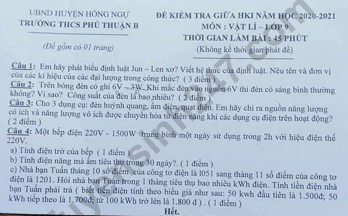 De kiem tra giua HK1 nam 2020 THCS Phu Thuan B mon Ly lop 9