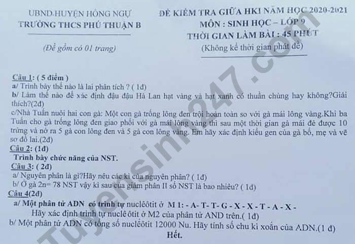De kiem tra giua HK1 2020 lop 9 THCS Phu Nhuan B mon Sinh