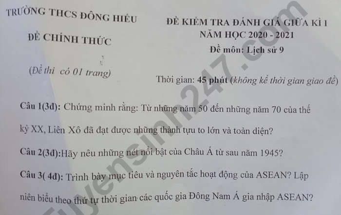 De kiem tra giua HK1 nam 2020 THCS Dong Hieu mon Su lop 9