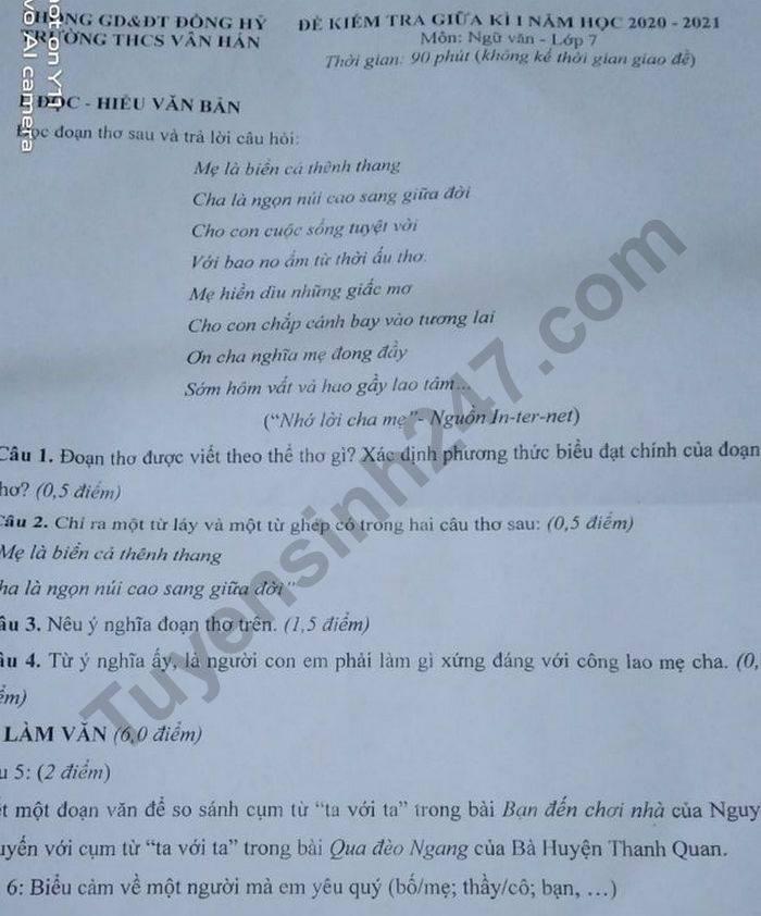 De kiem tra giua HK1 nam 2020 THCS Van Han mon Van lop 7