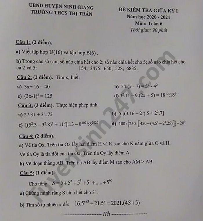 De kiem tra giua HK1 nam 2020 Toan lop 6 THCS TT Ninh Giang