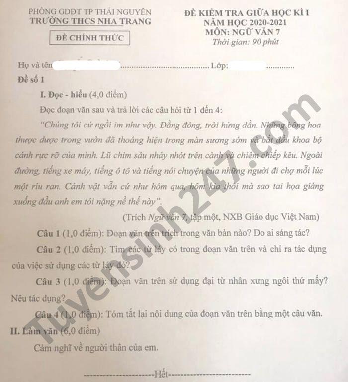 De kiem tra giua HK1 nam 2020 THCS Nha Trang mon Van lop 7