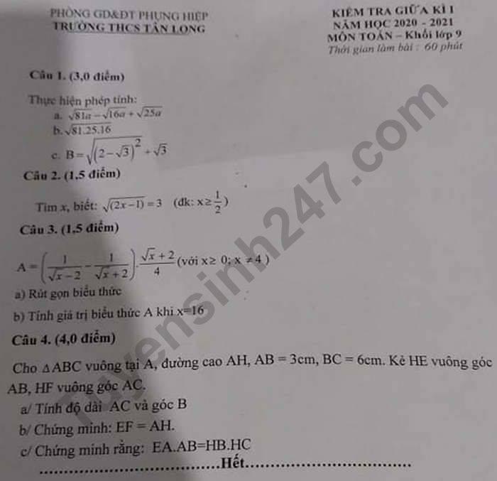 De kiem tra giua HK1 nam 2020 THCS Tan Long mon Toan lop 9