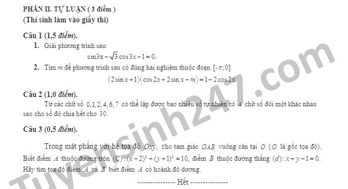 De kiem tra giua HK1 Toan lop 11 nam 2020 THPT Chu Van An