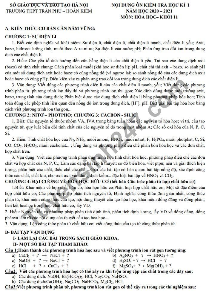 De cuong on tap ki 1 lop 11 mon Hoa THPT Tran Phu - Hoan Kiem 2020