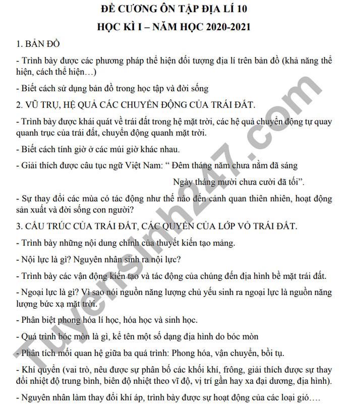 De cuong HK1 nam 2020 lop 10 mon Dia THPT Xuan Dinh