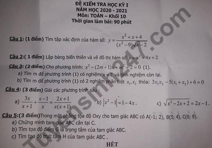 De kiem tra HK1 lop 10 mon Toan nam 2020 THPT Luong Van Can