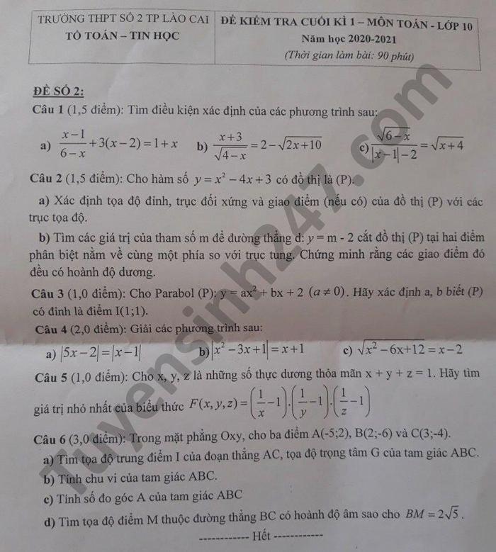 De thi hoc ki 1 mon Toan lop 10 THPT so 2 Lao Cai nam 2020