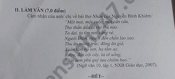 De thi hoc ki 1 mon Van lop 10 THPT Hai Lang nam 2020