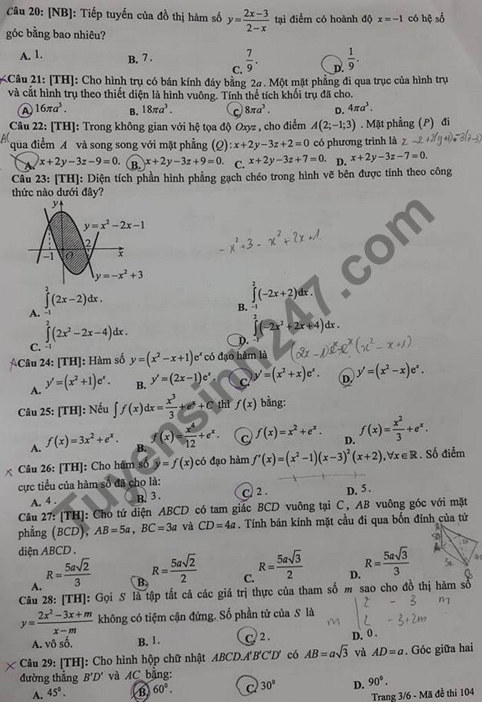 De thi thu Tot nghiep THPT 2021 mon Toan lan 1 THPT Chuyen Lao Cai