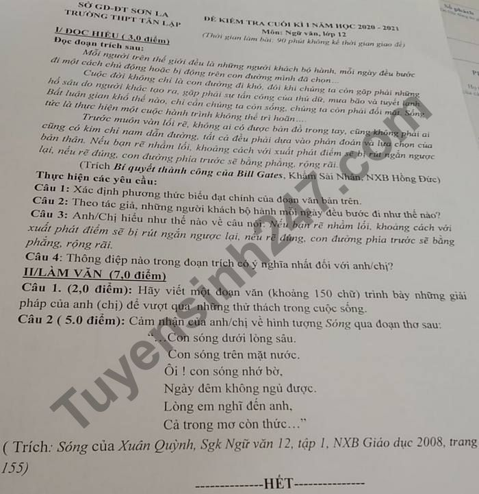 De thi hoc ki 1 mon Van lop 12 THPT Tan Lap 2020 - 2021