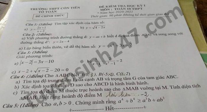 De thi hoc ki 1 nam 2020 THPT Con Tien mon Toan lop 10
