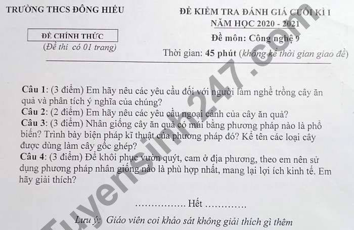 De thi hoc ki 1 nam 2020 THCS Dong Hieu mon Cong Nghe lop 9