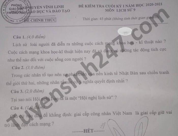 De thi hoc ki 1 mon Su lop 9 huyen Vinh Linh nam 2020