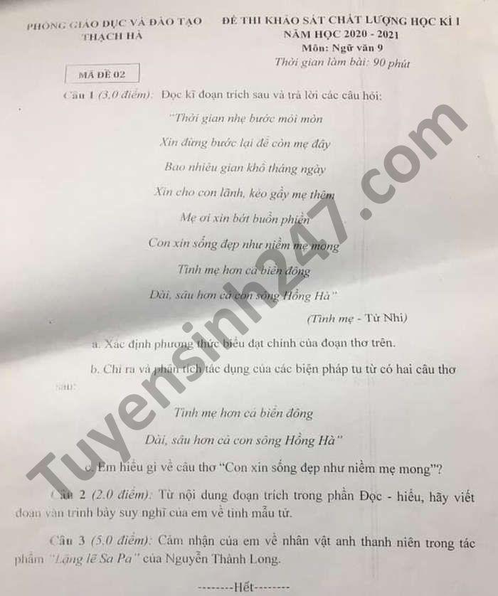 De thi hoc ki 1 mon Van lop 9 Phong GD Thach Ha nam 2020