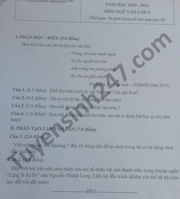 De thi hoc ki 1 mon Van lop 9 THCS Nguyen Du nam 2020