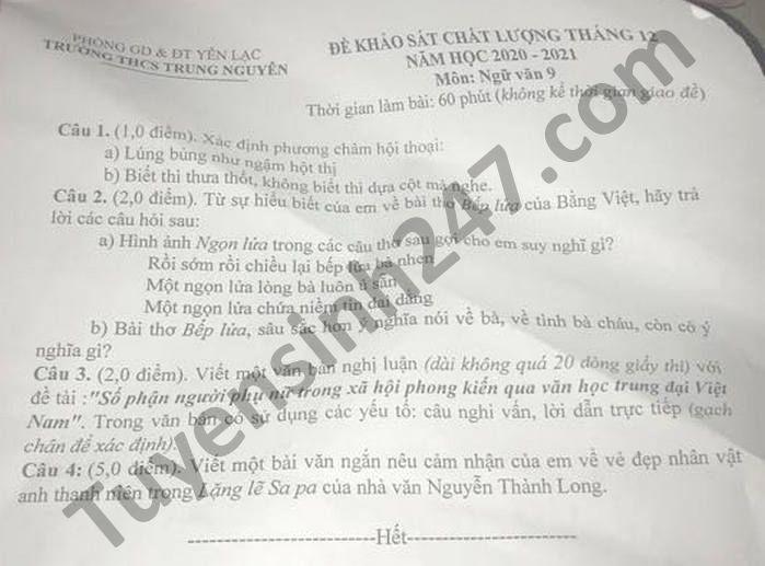 De KSCL thang 12 mon Van lop 9 THCS Trung Nguyen nam 2020