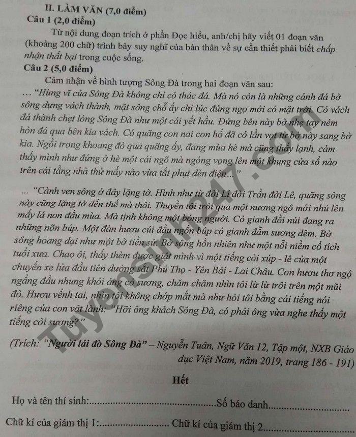 De thi thu Tot nghiep THPT 2021 lan 1 THPT Chuyen Nguyen Trai mon Van