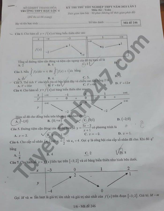 De thi thu tot nghiep THPT 2021 lan 2 mon Toan THPT Hau Loc 4