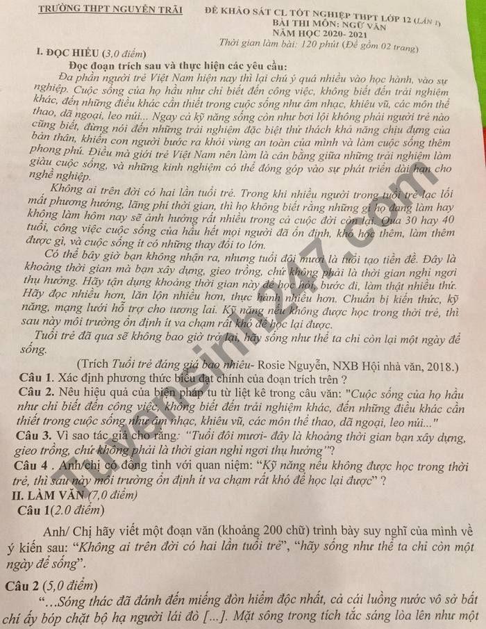 De thi KSCL tot nghiep THPT 2021 lan 1 mon Van THPT Nguyen Trai