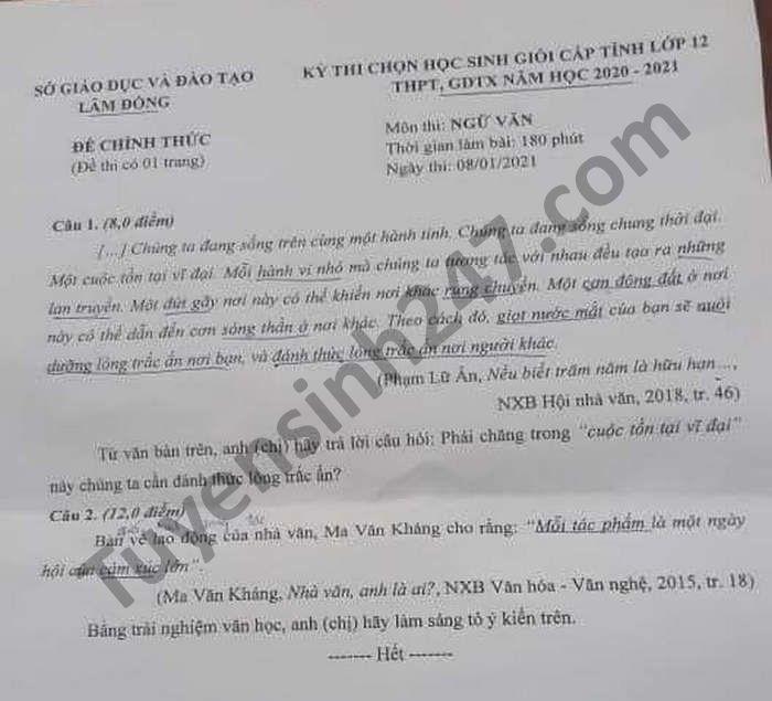 De thi chon HSG cap tinh mon Van lop 12 tinh Lam Dong nam 2021