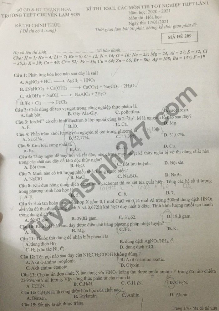 De thi thu Tot nghiep THPT 2021 lan 1 mon Hoa THPT Chuyen Lam Son