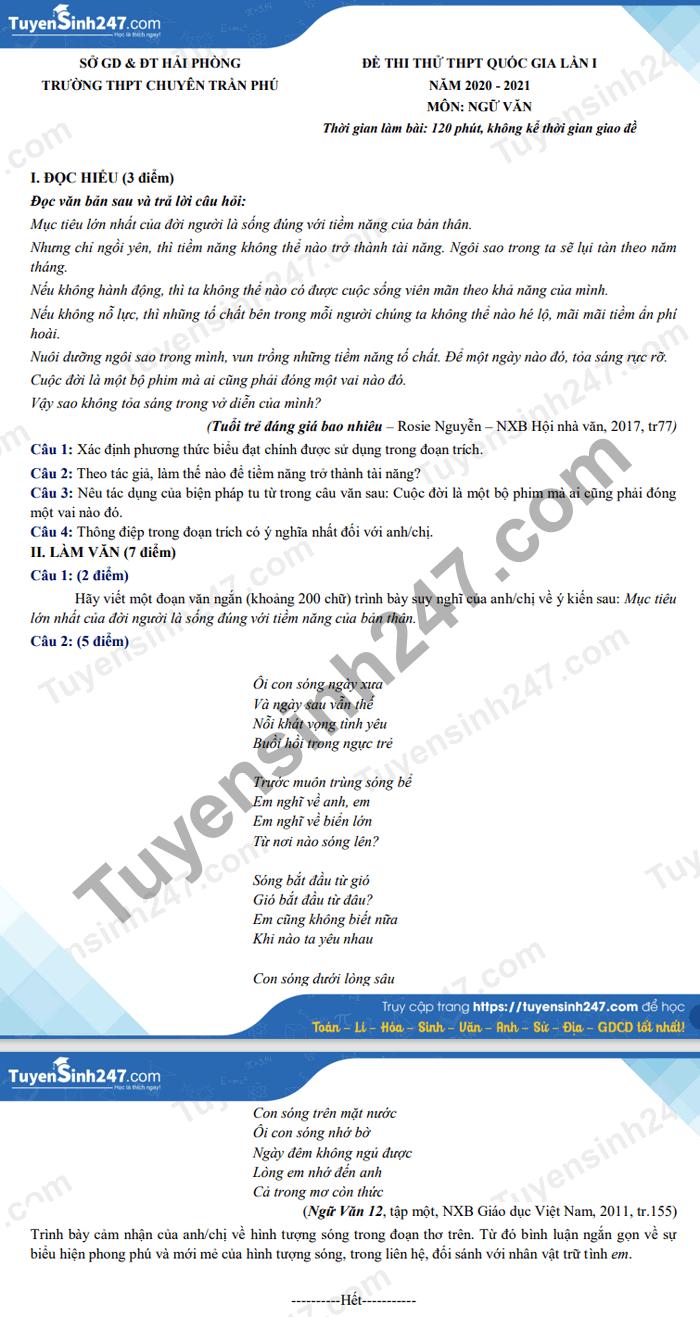 De thi thu Tot nghiep THPT mon Van 2021 lan 1 THPT Chuyen Tran Phu