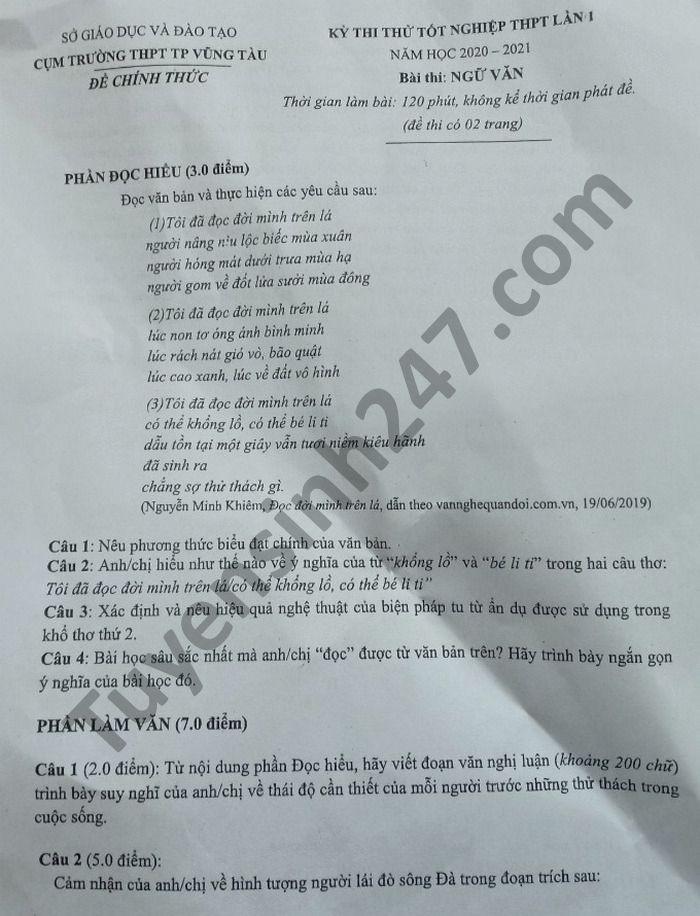 De thi thu tot nghiep THPT 2021 lan 1 mon Van cum truong THPT TP Vung Tau