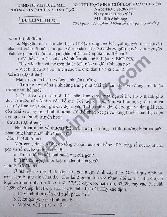 De thi hoc sinh gioi cap huyen 2021 lop 9 mon Sinh - huyen Dak Mik
