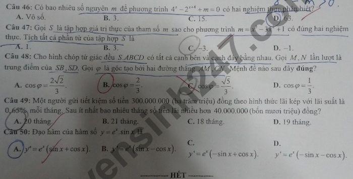 De thi thu Tot nghiep THPT 2021 lan 1 mon Toan cac truong THPT TP Vung Tau