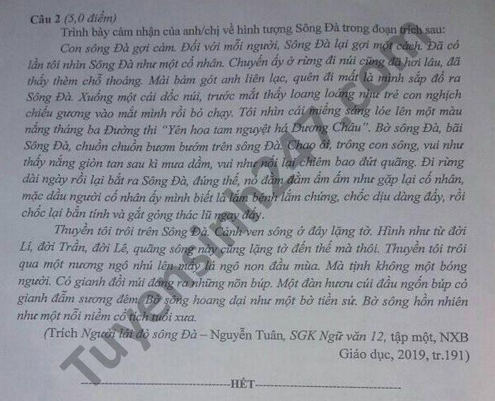 De thi thu tot nghiep THPT 2021 lan 1 mon Van tinh Thai Nguyen