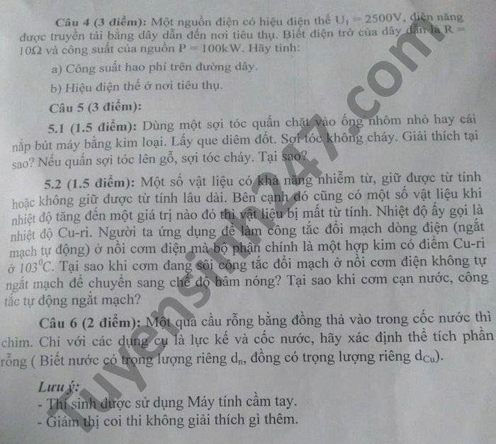 De thi hoc sinh sinh gioi cap huyen mon Ly lop 9 2021 huyen Van Ban