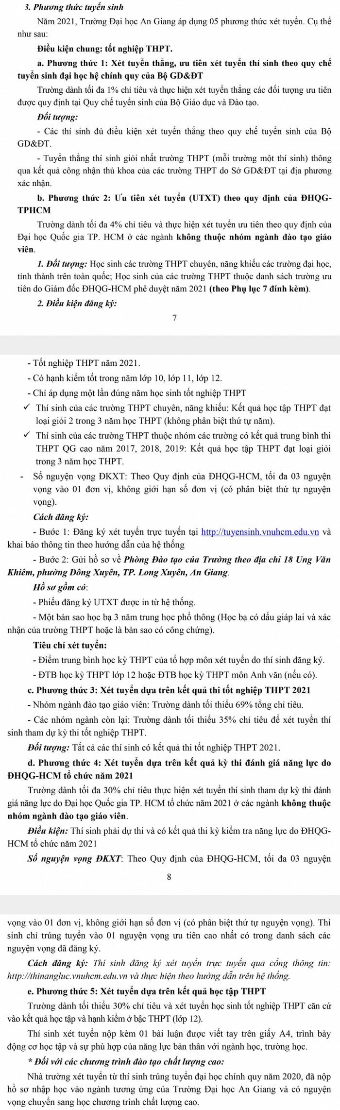 Phuong thuc tuyen sinh Dai hoc An giang 2021
