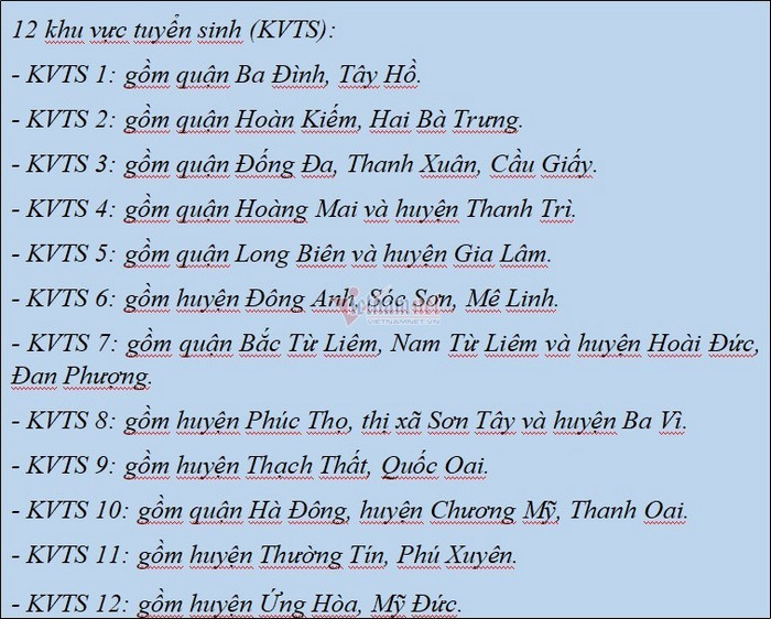 Danh sach khu vuc tuyen sinh vao lop 10 Ha Noi 2021