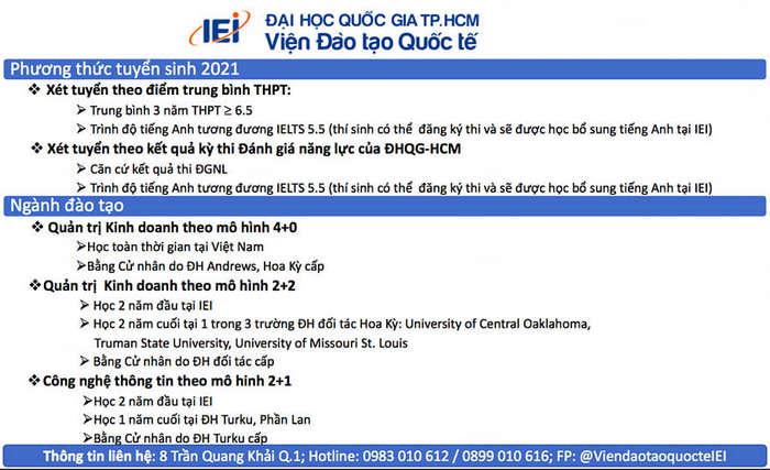 Thong tin tuyen sinh Vien Dao Tao Quoc Te - DHQG TPHCM 2021