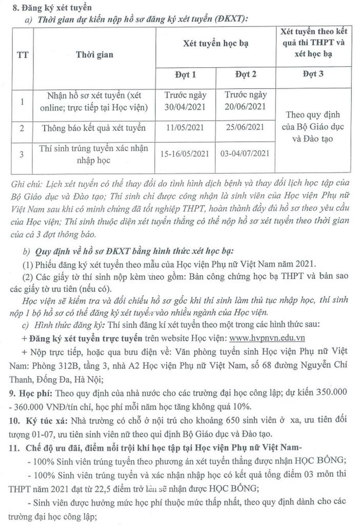 Thong tin tuyen sinh Hoc vien Phu nu Viet Nam 2021