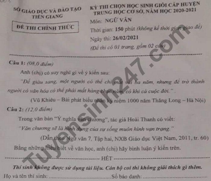 De thi chon HSG cap huyen THCS mon Van - So GD Tien Giang 2021