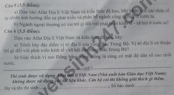 De thi chon hoc sinh gioi cap huyen THCS 2021 tinh Tien Giang mon Dia